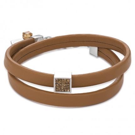 COEUR DE LION Armband Leder Kristalle Pavé Hellbraun 0117/30-1120