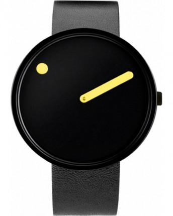 PICTO Armbanduhr Unisex Edelstahl Silikonband Schwarz Gelb 43388-3620B