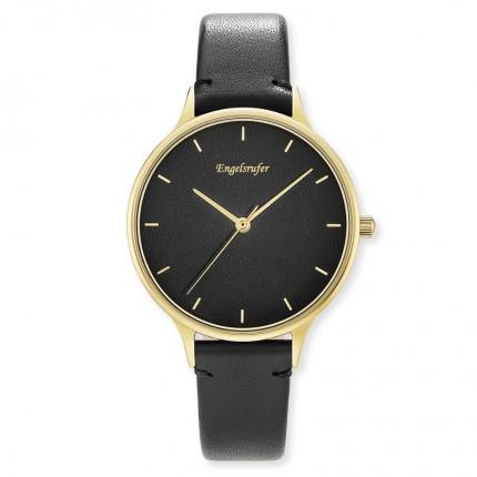 Engelsrufer Armbanduhr Edelstahl Gold Lederband Schwarz ERWA-COLOUR-LBK2-MG