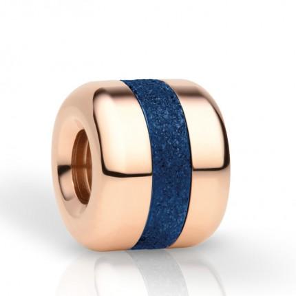 Bering Charm Edelstahl Roségold Sparkling Blau Believe-4
