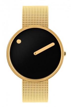 PICTO Armbanduhr Unisex Edelstahl Gold Meshband 43387-0920