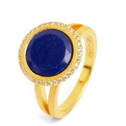 BERND WOLF Ring Silber Goldplattiert TISANNI Lapislazuli 50151236