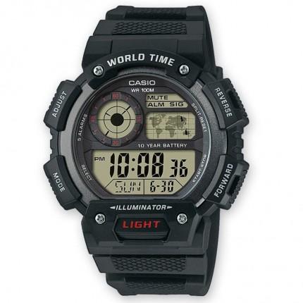 Casio Armbanduhr Collection Schwarz Weltzeit AE-1400WH-1AVEF