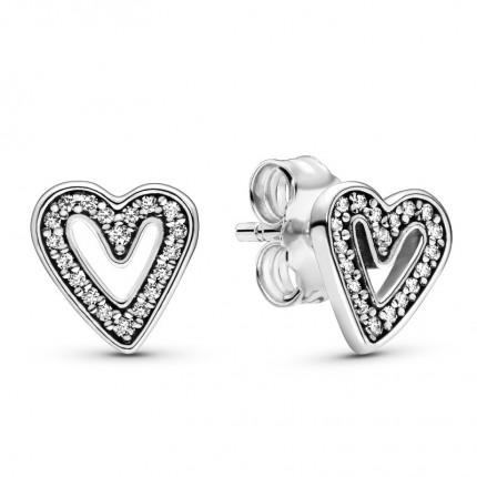 PANDORA Ohrschmuck Silber Sparkling Freehand Heart 298685C01