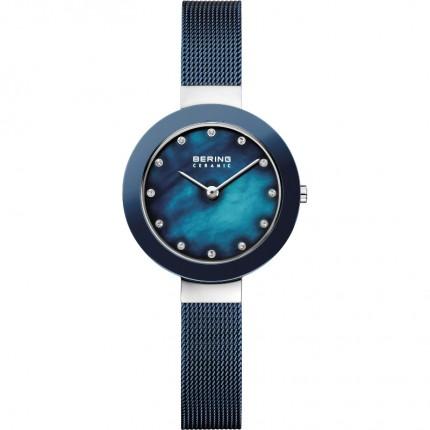 Bering Damenuhr Ceramic Edelstahl Milanaiseband Blau 11429-387