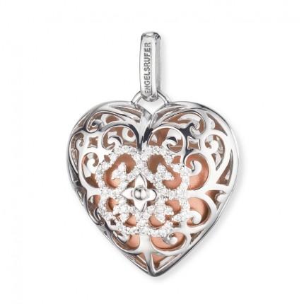 Engelsrufer Herz Silber Rhodiniert Klangherz Rosé ERP-16-HEART-ZI-L