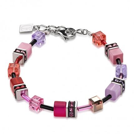 COEUR DE LION Armband Geo Cube Multicolor Rot Rosa 2838/30-0325