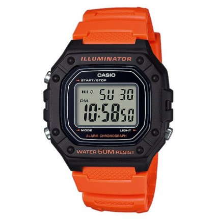 Casio Armbanduhr Collection Schwarz Orange W-218H-4B2VEF