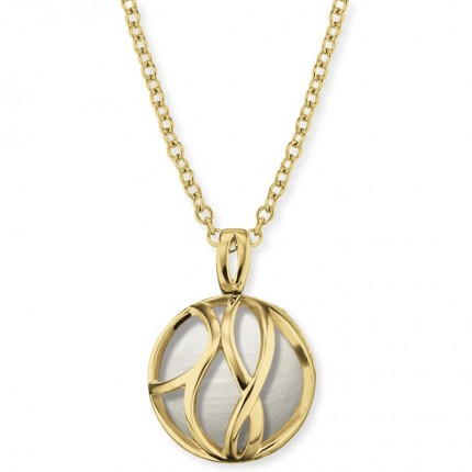 Engelsrufer Kette Silber Goldplated Glasperle Weiß ERN-LILPARADISE-PE-G