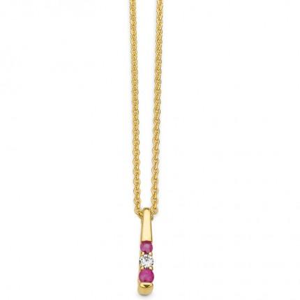 CEM Collier 333/- Gold Zirkonia Rubin G3-00230C