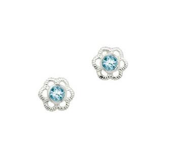 CEM Ohrschmuck Silber Blume Zirkonia Hellblau BOS 904505