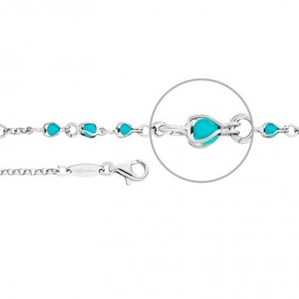 DER KETTENMACHER Armband Silber Rhodiniert Türkis AG3-19S