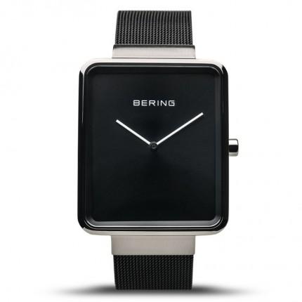 Bering Armbanduhr Square Ultra Slim Edelstahl Schwarz 14533-102