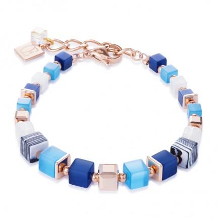 COEUR DE LION Armband Geo Cube Swarovski-Kristalle syn. Malachit Blau Türkis 4963/30-0706