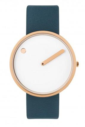 PICTO Armbanduhr Unisex Edelstahl Roségold Silikonband Blau 43383-6520R