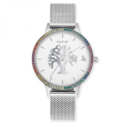 Engelsrufer Armbanduhr Edelstahl Multicolor Mesh Lebensbaum ERWA-TREE02-MS-MSZM