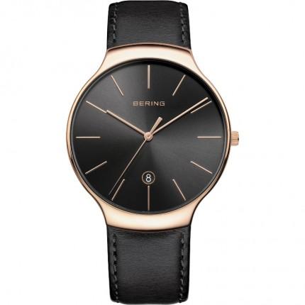 Bering Armbanduhr Unisex Classic Edelstahl Roségold Lederband 13338-462