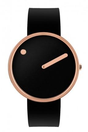 PICTO Armbanduhr Unisex Edelstahl Roségold Silikonband Schwarz 43312-0120R