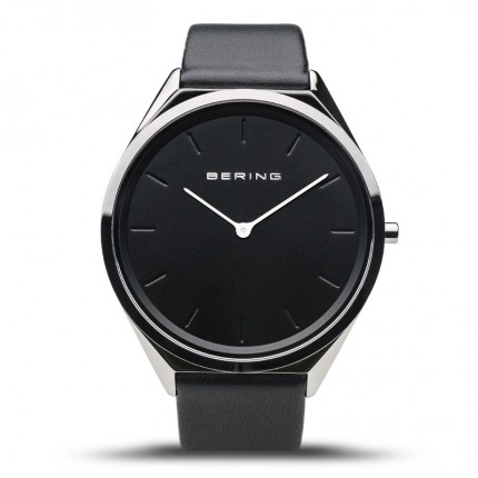Bering Armbanduhr Unisex Ultra Slim Edelstahl Lederband Schwarz 17039-402