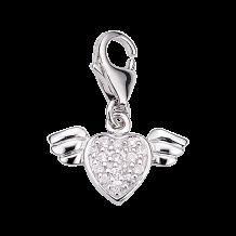 CEM Charms Anhänger Herz Flügel Zirkonia Silber CMM160