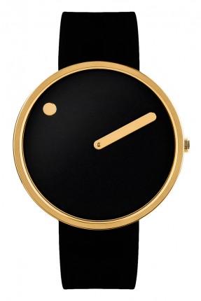 PICTO Armbanduhr Unisex Edelstahl Gold Silikonband Schwarz 43312-0120G