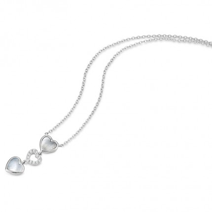 CEM Collier Silber Herzen Perlmutt ZirkoniaS-00227C