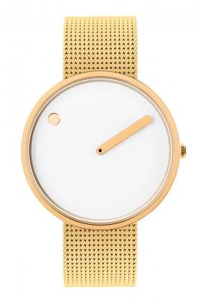 PICTO Armbanduhr Unisex Edelstahl Gold Meshband 43321-0920