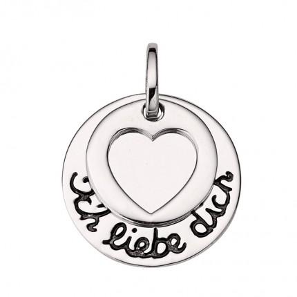 CEM Anhänger Gravurplatte Silber Herz BAH905401