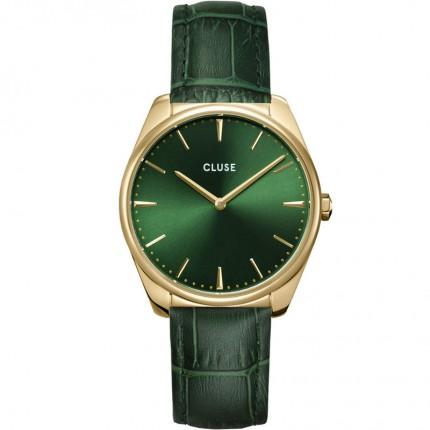 CLUSE Armbanduhr Féroce Gold Lederband Grün CW0101212006