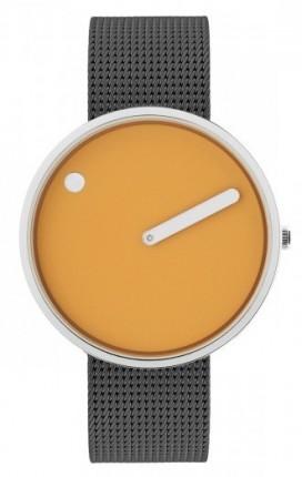 PICTO Armbanduhr Unisex Edelstahl Meshband Grau 43354-1220