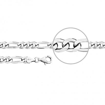 DER KETTENMACHER Sterlingsilber Rhodiniert Figaroarmband Diamantiert 6,4mm F4-21S