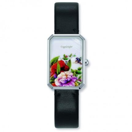Engelsrufer Armbanduhr Edelstahl Blumen Multicolor Lederband ERWA-FLOWER1-LBK1-RS
