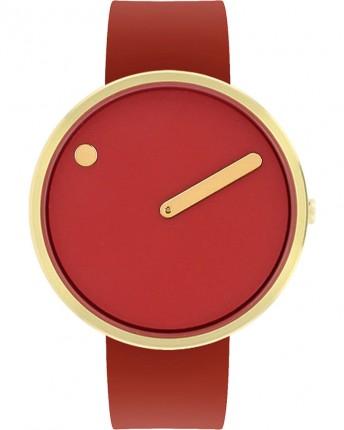 PICTO Armbanduhr Unisex Edelstahl Gold Silikonband Rot 43397-7628G