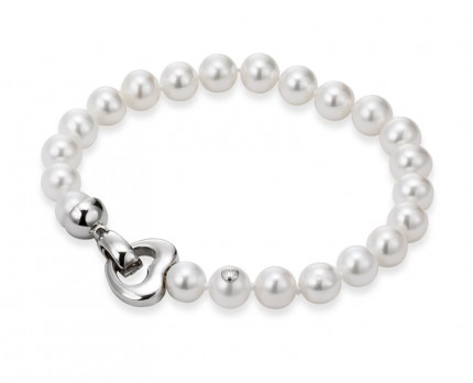 ADRIANA Perlenarmband Herz Silber Rhodiniert Süßwasserperlen A1