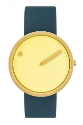 PICTO Armbanduhr Unisex Edelstahl Gold Lederband Blau 43330-6520MG