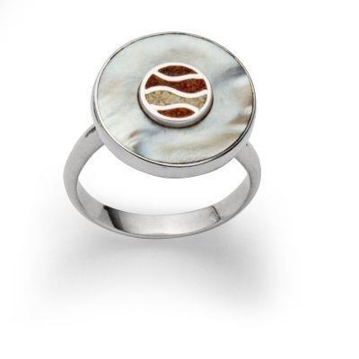 DUR Ring Silber Rhodiniert Strandlust Bernsteinsand Perlmutt R5405