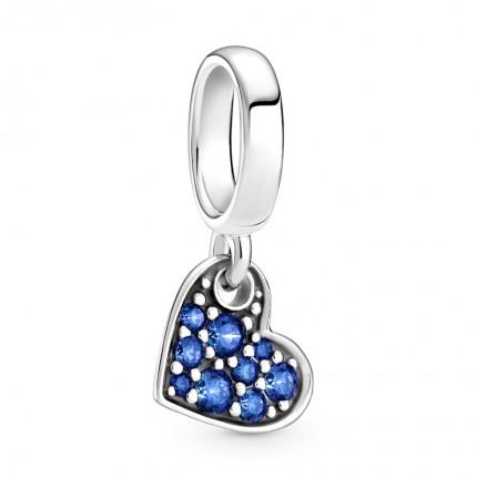 PANDORA Anhänger Silber Stellar Blue Pavé Tilted Heart 799404C01