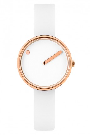 PICTO Armbanduhr Small Edelstahl Roségold Silikonband Weiß 43381-0212R