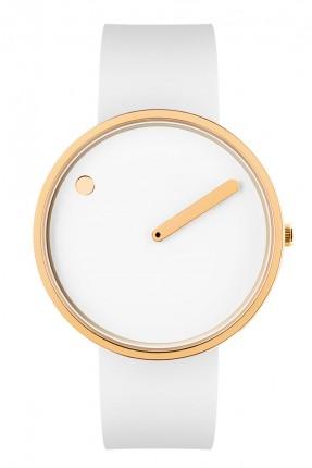 PICTO Armbanduhr Unisex Edelstahl Gold Silikonband Weiß 43321-0220G