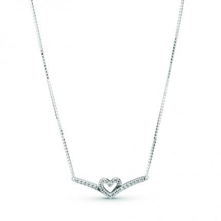 PANDORA Silberkette Sparkling Wishbone Heart 399273C01-45