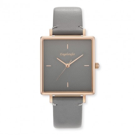 Engelsrufer Armbanduhr Edelstahl Roségold Lederband Grau ERWA-COLOUR-LGY2-QR
