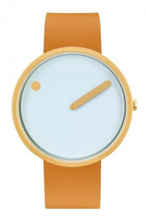 PICTO Armbanduhr Unisex Edelstahl Gold Lederband Hellbraun 43332-4520MG