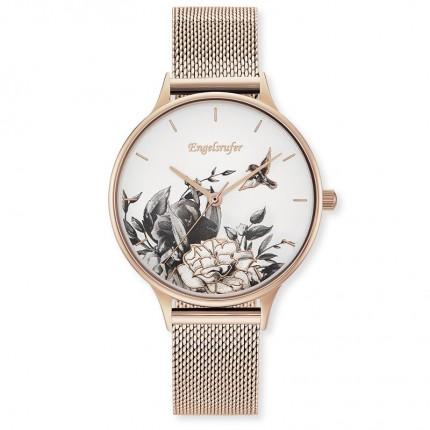 Engelsrufer Armbanduhr Edelstahl Roségold Blumen Mesh ERWA-FLOWER1-MR-MR
