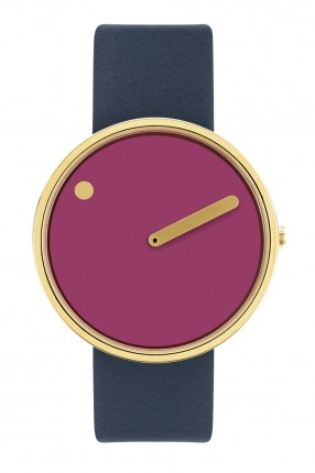 PICTO Armbanduhr Unisex Edelstahl Gold Lederband Blau 43378-6720MG