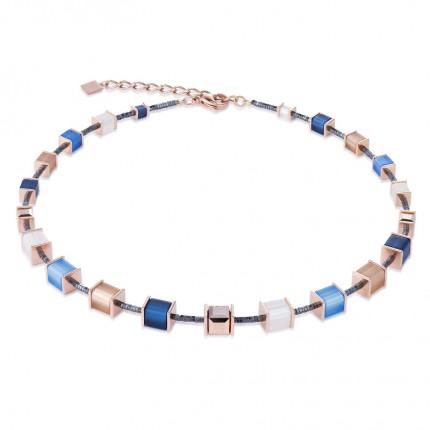 COEUR DE LION Collier Geo Cube Swarovski-Kristalle Polaris Blau-Beige 4945/10-0710