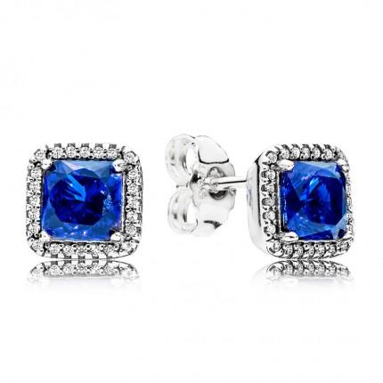 PANDORA Ohrschmuck Silber Zeitlose Eleganz Blau 290591NBC