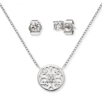 Engelsrufer Schmuckset Kette & Ohrstecker Silber Ornament ERMT-LILORNA-ZI