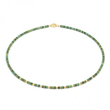 BERND WOLF Collier FESHI Silber Goldplattierung Türkis Grün 85326356-43