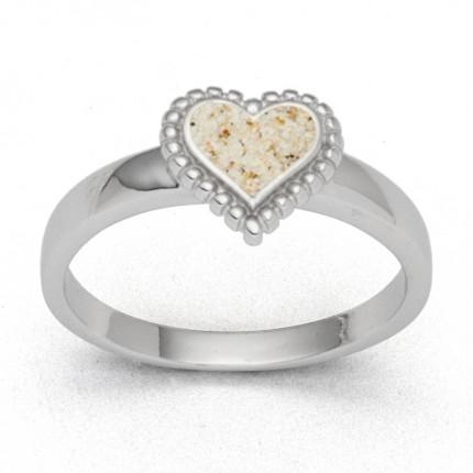 DUR Ring Silber Rhodiniert Herz klein Strandsand R5633