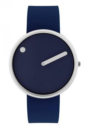 PICTO Armbanduhr Unisex Edelstahl Silikonband Dunkelblau 43393-0520S